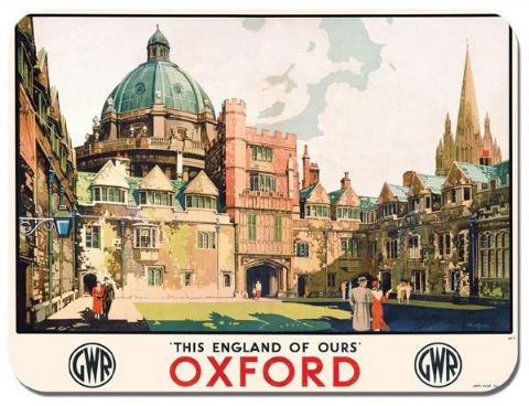 Oxford Vintage Railway Poster Mouse Mat. Train Travel Mouse Pad Gift